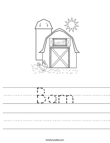 Barn with Hen Worksheet