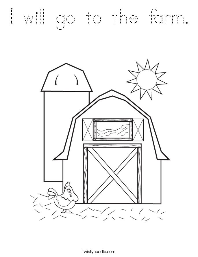 I will go to the farm. Coloring Page