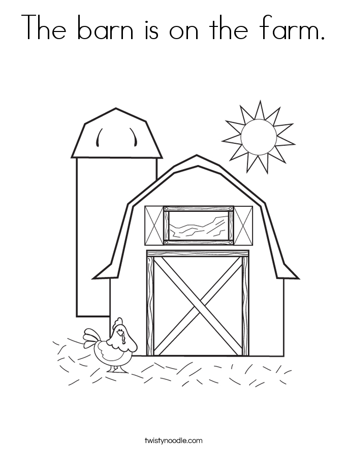 The barn is on the farm. Coloring Page