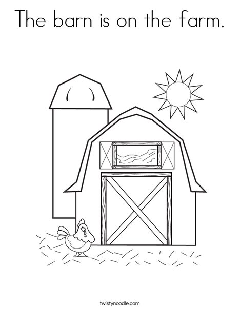 Barn with Hen Coloring Page