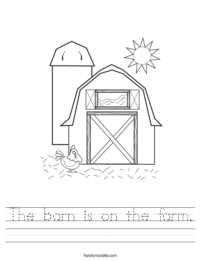 The barn is on the farm Worksheet Twisty Noodle – Farm Worksheets