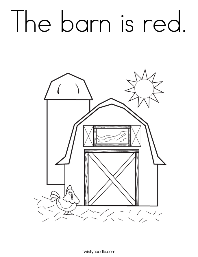 The barn is red. Coloring Page