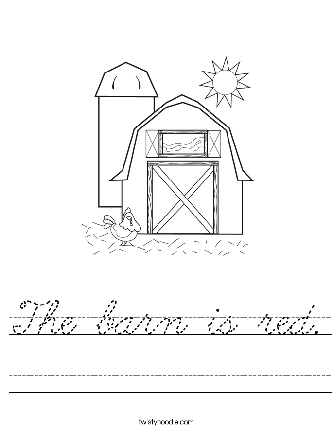 The barn is red. Worksheet