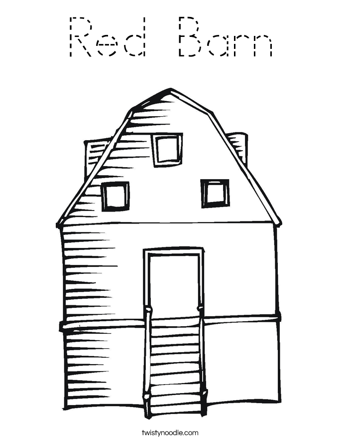 Red Barn Coloring Page Tracing Twisty Noodle