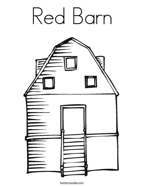 Red Barn Coloring Page http://twistynoodle.com/red-barn-5-coloring-page/