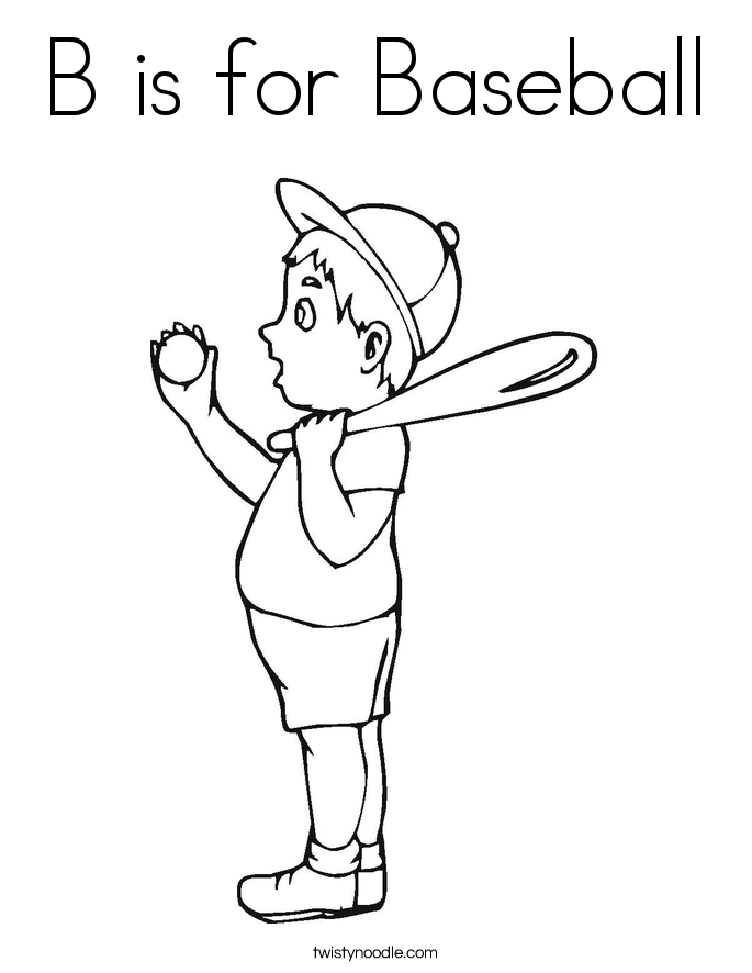 b is for baseball coloring page - Sports Coloring Pages