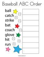 Baseball ABC Order Coloring Page
