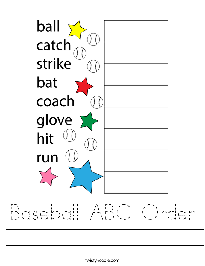 Baseball ABC Order Worksheet