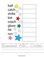 Baseball ABC Order Handwriting Sheet