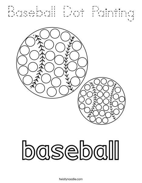 Baseball Dot Painting Coloring Page