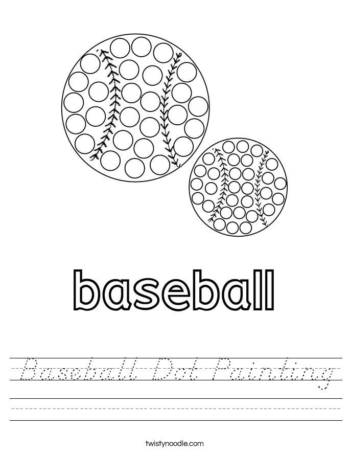 Baseball Dot Painting Worksheet