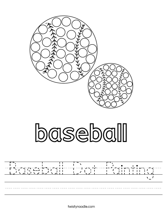 Baseball Dot Painting Worksheet