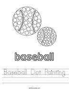 Baseball Dot Painting Handwriting Sheet