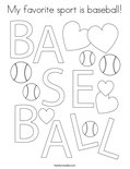 My favorite sport is baseball! Coloring Page