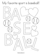 My favorite sport is baseball Coloring Page