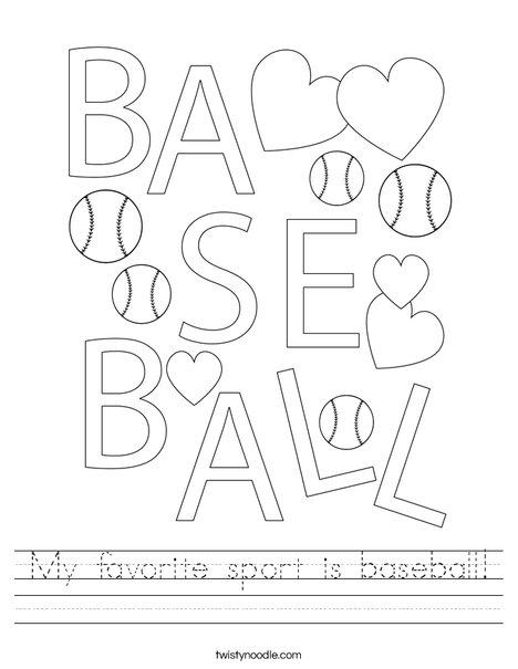 Baseball is my favorite sport! Worksheet