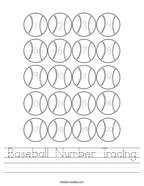 Baseball Number Tracing Handwriting Sheet