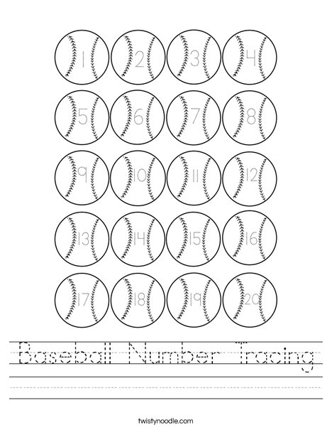 Baseball Number Tracing Worksheet