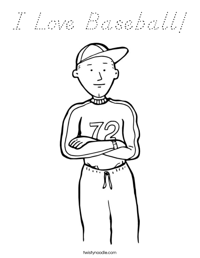 I Love Baseball! Coloring Page