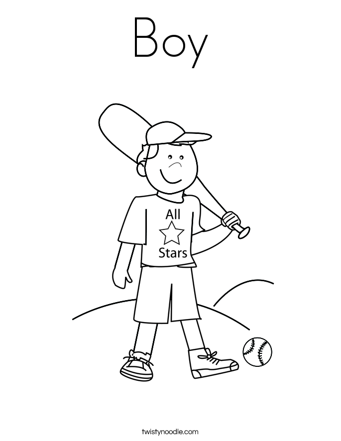 Boy Coloring Page - Twisty Noodle