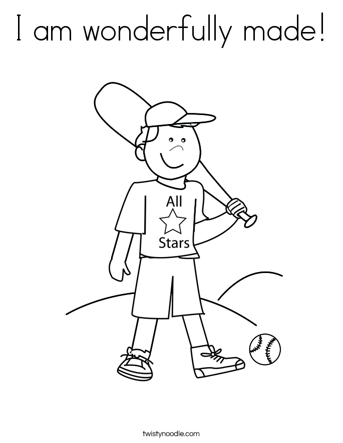 I am wonderfully made! Coloring Page