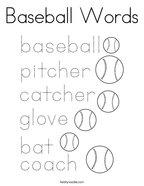 Baseball Words Coloring Page