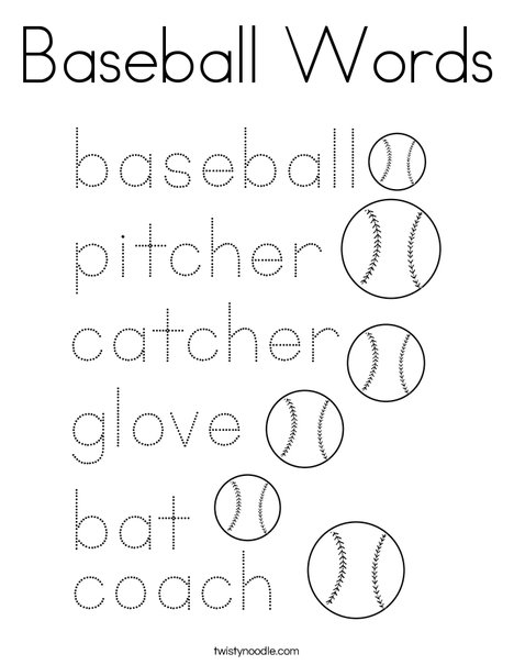 Baseball Words Coloring Page