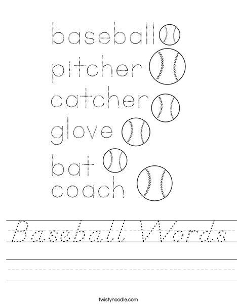 Baseball Words Worksheet