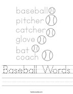Baseball Words Handwriting Sheet