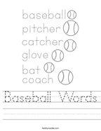 Baseball Words Handwriting Sheet