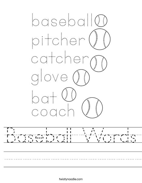 Baseball Words Worksheet