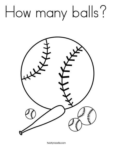 Baseballs with Bat Coloring Page