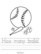 How many balls Handwriting Sheet