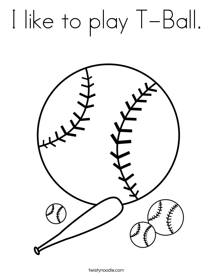 I like to play T-Ball. Coloring Page