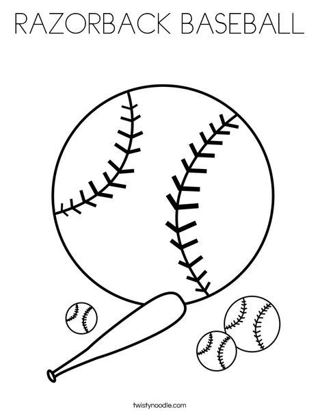 Baseballs with Bat Coloring Page