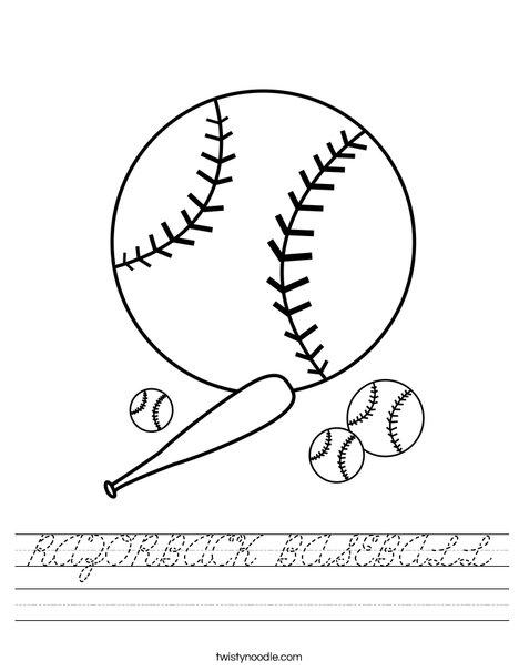 Baseballs with Bat Worksheet