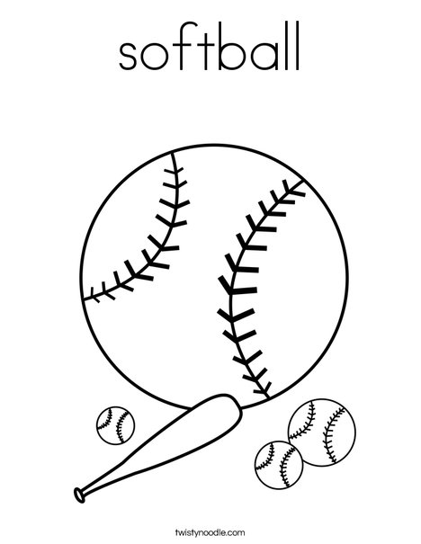 Softball coloring page twisty noodle for Softball coloring pages to print