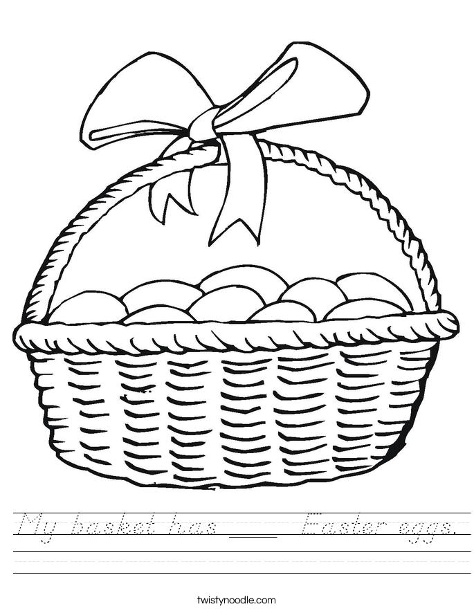 My basket has ___  Easter eggs. Worksheet