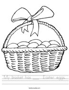 My basket has ___  Easter eggs Handwriting Sheet