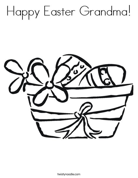 Easter Basket with Flowers Coloring Page