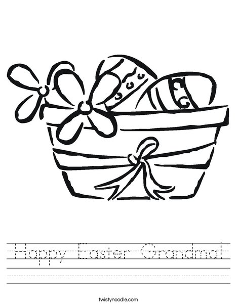 Easter Basket with Flowers Worksheet