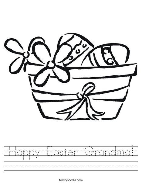 Easter Basket with Flowers Worksheet