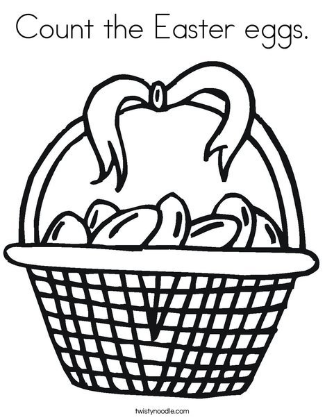 Easter Basket with Bow Coloring Page