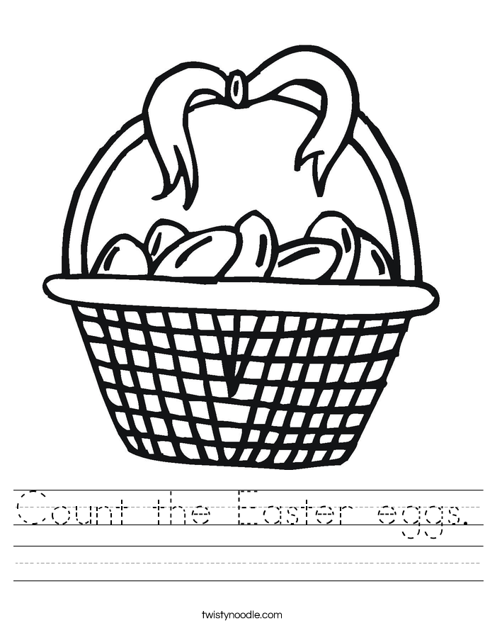 Count the Easter eggs. Worksheet