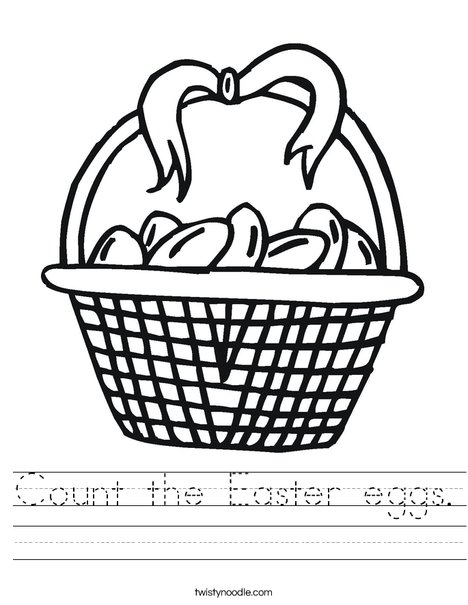 Easter Basket with Bow Worksheet