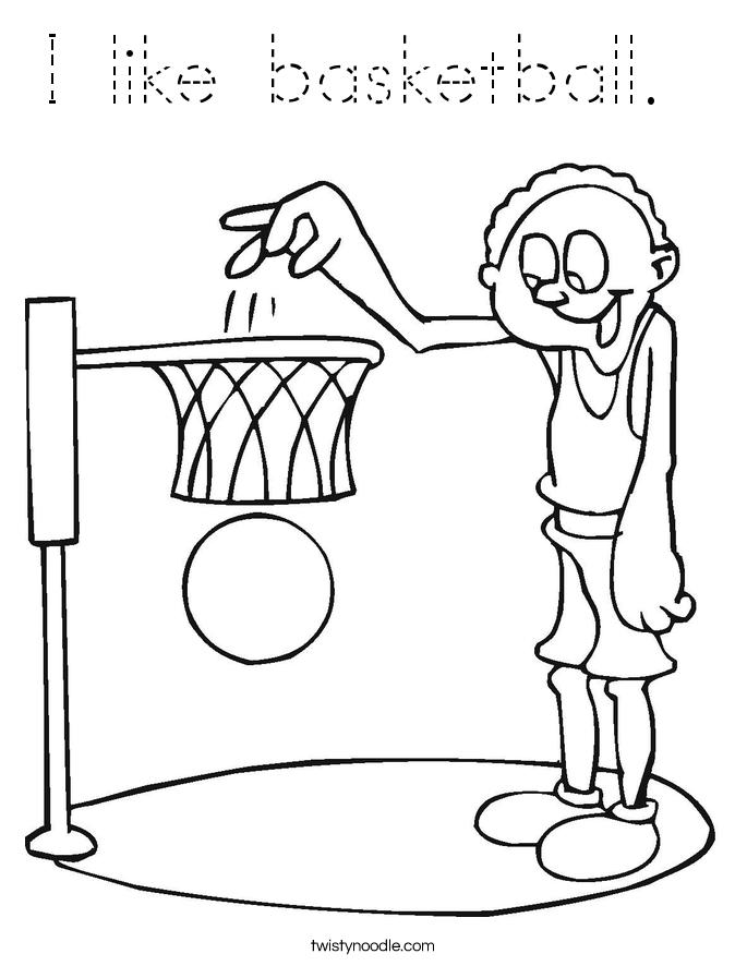 I like basketball.  Coloring Page