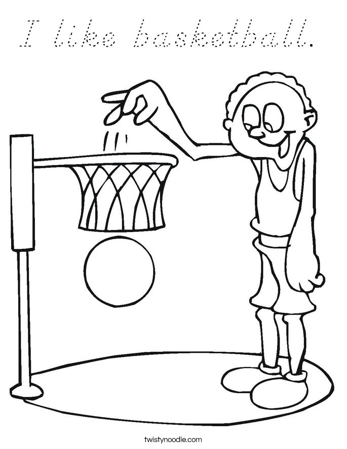 I like basketball.  Coloring Page