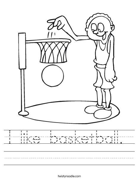 """Worksheet: Picture Cloze - Basketball (elem) - """"Jack likes to __ ..."""