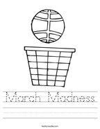 March Madness Handwriting Sheet