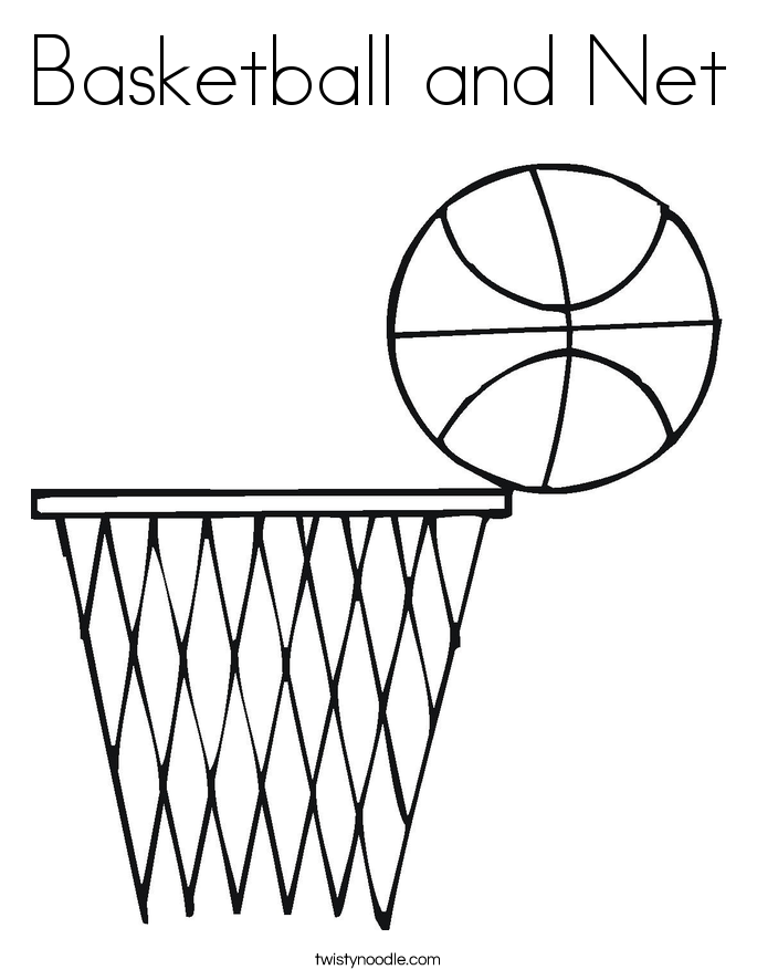 basketball and net coloring page
